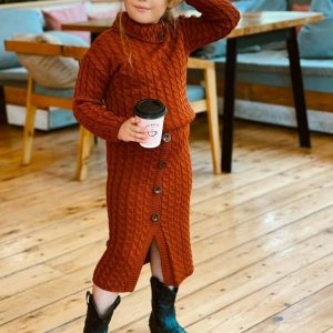 Knitwear two-piece skirt set for girls