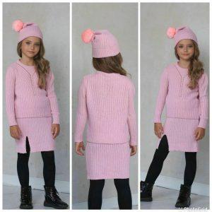 Knitwear 3-piece skirt set for girls