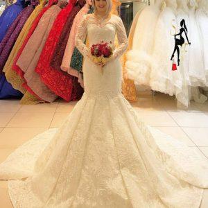 Luxurious Sparkle Wedding Dress Length Lace.